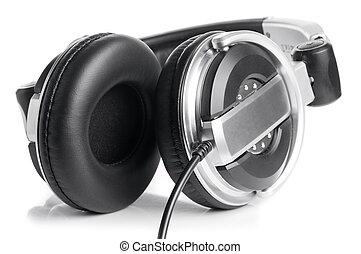 professional earphones isolated on white