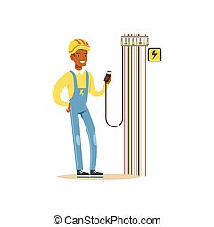 Professional electrician man character measuring the voltage output in fuse box, electrical works vector Illustration