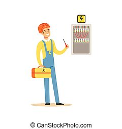 Professional electrician man character screwing equipment in fuse box, electric man perforrming electrical works vector Illustration