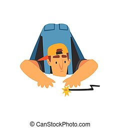 Professional Electrician Repairing Electrical Wire, Electric Man Character in Blue Overalls at Work Vector Illustration