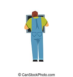 Professional Electrician Repairing Equipment in Fuse Box, Electric Man Character in Blue Overalls, Back View Vector Illustration