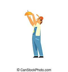 Professional Electrician Screwing Lamp, Electric Man Character in Blue Overalls at Work Vector Illustration