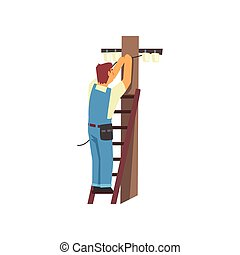 Professional Electrician Standing on Stepladder Repairing Wire of Power Line, Electric Man Character in Blue Overalls Vector Illustration