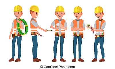 Professional Electrician Vector. Different Poses. Performing Electrical Work. Isolated On White Cartoon Character Illustration