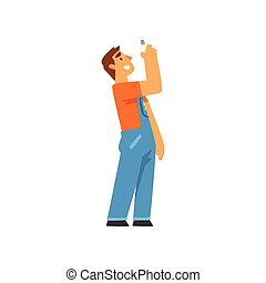 Professional Electrician with Bulb, Electric Man Character in Blue Overalls at Work Vector Illustration