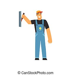 Professional Electrician with Power Switch, Electric Man Character in Blue Overalls at Work Vector Illustration