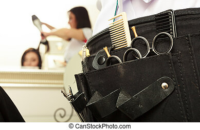 Close-up of professional equipment tools accessories of hairdresser hairstylist in hair beauty salon. Service.