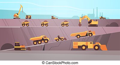 professional equipment working on coal mine production extraction industry mining transport concept opencast stone quarry background flat horizontal