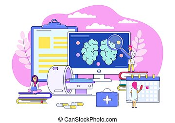 Professional examination brain conept, vector illustration. Medical treatment, brain tumor with MRI. Doctor research patient organ at computer screen, making medical procedures schedule.