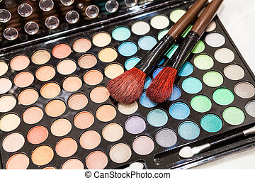 Professional eye shadow makeup with two brushes
