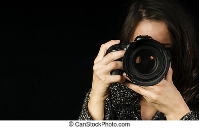 Professional Female Photographer - Close-up of Female ...