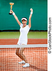 Professional female tennis player won the competition -...