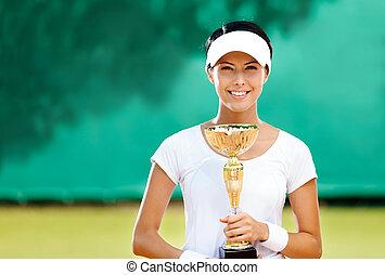 Professional female tennis player won the match - Tennis...