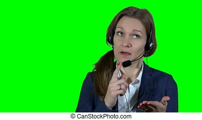Professional financial consultant adviser woman with headset...