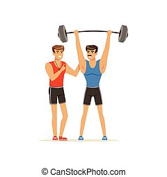 Professional fitness coach and bodybuilder man exercising with barbell, people exercising under control of personal trainer vector Illustration