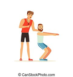 Professional fitness coach and man squatting, people exercising under control of personal trainer vector Illustration