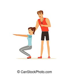 Professional fitness coach and young woman squatting, people exercising under control of personal trainer vector Illustration