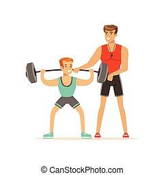 Professional fitness coach man exercising with a barbell, people exercising under control of personal trainer vector Illustration