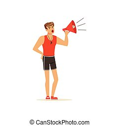 Professional fitness coach yelling with megaphone vector Illustration