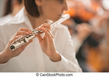 Professional flute player performing - Professional female...