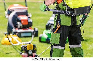 Professional Gardener and His Garden Equipment