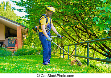 Professional gardener using an edge trimmer in home garden