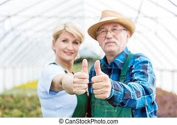 Professional gardeners showing thumbs up in a greenhouse. -...