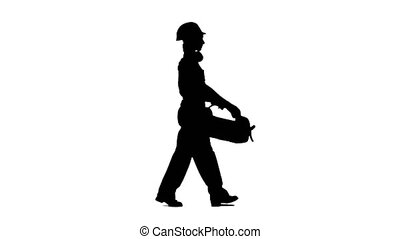 Professional girl carries a case with construction tools. Silhouette. White background. Side view