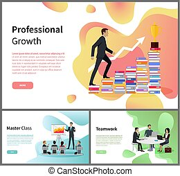 Teamwork and professional growth master class vector. Businessman and career ladder, business training and cooperation, trophy and graphic, laptops