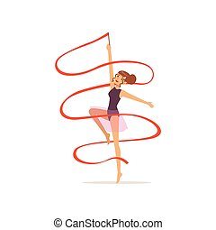 Professional gymnast girl dance with red ribbon. Professional rhythmic gymnastics sport. Beautiful woman character in purple leotard with skirt. Isolated flat vector