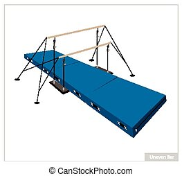 Professional Gymnastic Uneven Bars on White Background