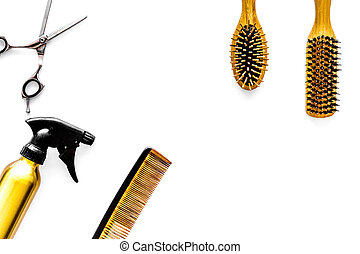 Professional hairdresser equipment on white background top view