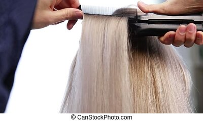 professional hairdresser make a hairstyle. woman having her...