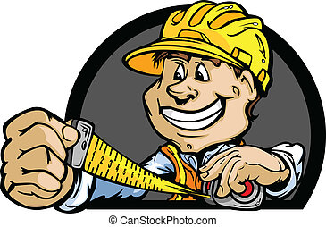 Professional Handy Man with Tape Measure and Hard Hat Vector Illustration