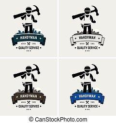 Professional handyman house fixing logo design.