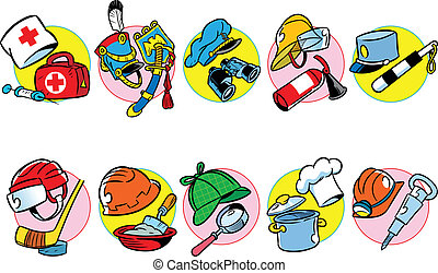 The illustration shows a wide variety of professional headgears, as well as tools, attributes, and accessories for them. Illustration done in cartoon style as separate layers on a white background.