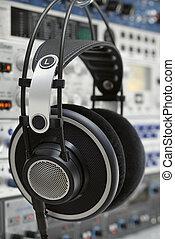 Professional headphones in a recording studio