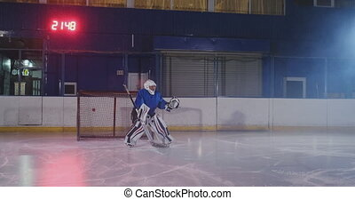 Professional hockey player attacks the gate and strikes, but the goalkeeper beats the puck. A goal in hockey. Goal scored. Bullet penetration