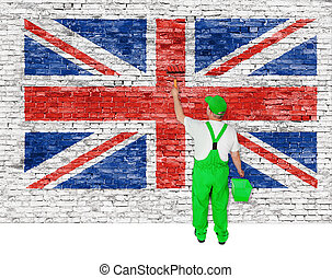 Professional house painter covers wall with british flag -...