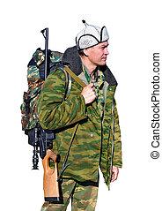 Professional hunter  in the Mongolian felt hat