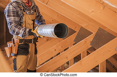 HVAC Worker with Piece of Air Duct Pipeline in His Hands