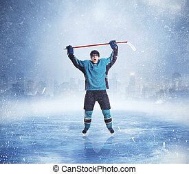 Professional ice hockey player hands up