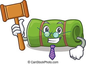 Professional Judge camping mat Scroll presented in cartoon...