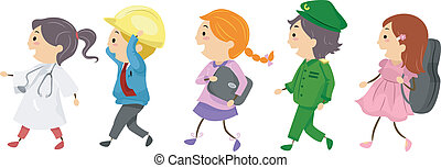 Professional Kids - Illustration Featuring Kids Dressed as...