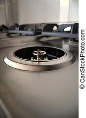Professional kitchen, burners detail - Open burner,...