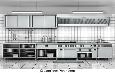 Professional kitchen facade. View surface in stainless steel...