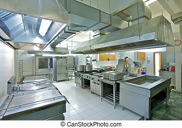 Overview of a professional kitchen