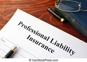 Professional liability insurance policy on a table.