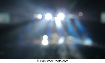 Professional lighting equipment on stage during a...