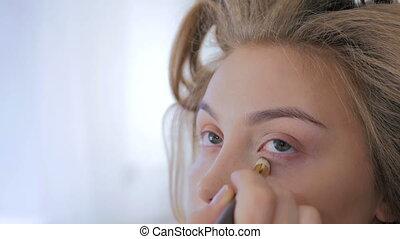 Professional make-up artist applying cream base eyeshadow...